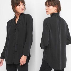 Gap ruffle tie neck long sleeve button down shirt